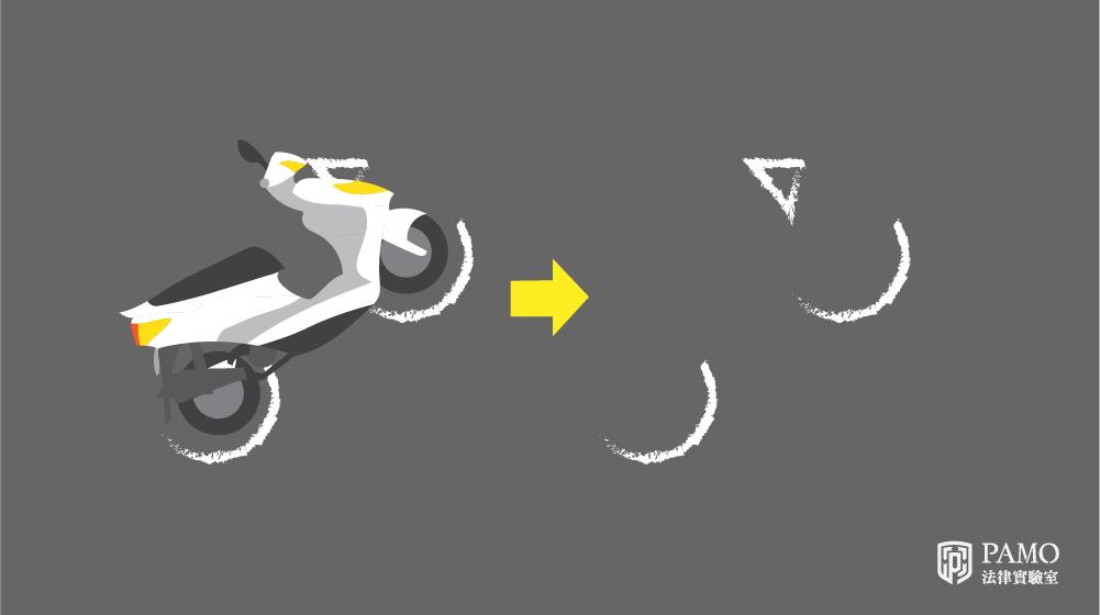 車禍移車前,須先標繪車輛,機車標繪方式